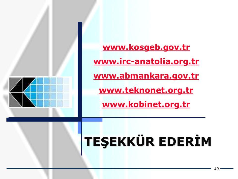 49 TEŞEKKÜR EDERİM www.kosgeb.gov.tr www.irc-anatolia.org.tr www.abmankara.gov.tr www.teknonet.org.tr www.kobinet.org.tr