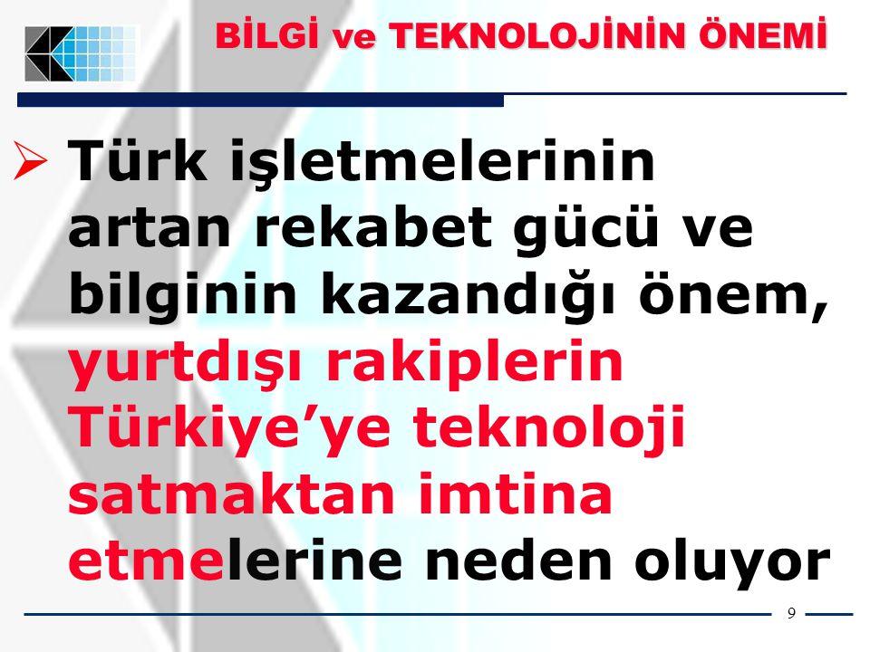 9   Türk işletmelerinin artan rekabet gücü ve bilginin kazandığı önem, yurtdışı rakiplerin Türkiye'ye teknoloji satmaktan imtina etmelerine neden oluyor BİLGİ ve TEKNOLOJİNİN ÖNEMİ