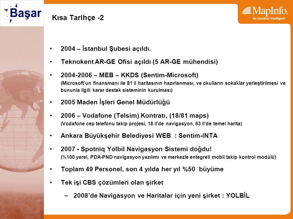 Kısa Tarihçe -2 2004 – İstanbul Şubesi açıldı. Teknokent AR-GE Ofisi açıldı (5 AR-GE mühendisi) 2004-2006 – MEB – KKDS (Sentim-Microsoft) (Microsoft'u
