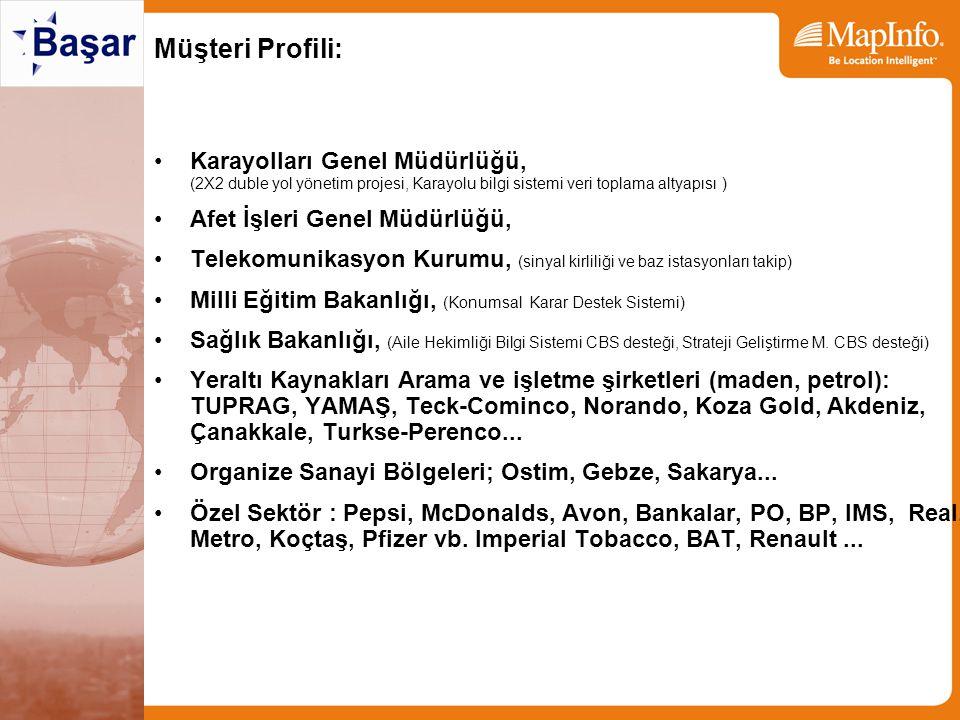 MAPINFO EĞİTİM MERKEZİ Türkçe ve Türkiye haritaları ile örnekler olan eğitim dökümanları 15 kişilik sınıf MapInfo, MapBasic Integrated Mapping, MapXtreme.Net, Java eğitim materyalleri Encom Discover, Engage 3D Son 3 yılda 5,000 Adet MapInfo Eğitim Kitabı