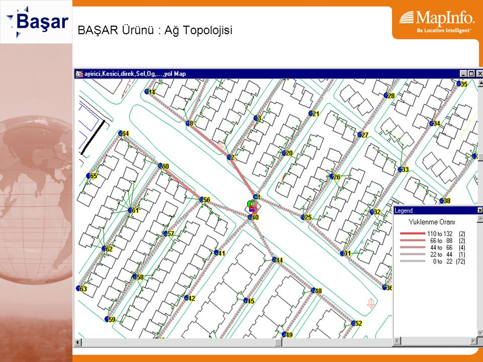 BAŞAR Ürünü: MapInfo için CAD –(Extend) –(Trim) –Chamfer –Fillet –Arc From 3 Nodes –Arc From Centroid with 2 points –Offset –Place points at angles –Place points with distance –Correcting region with lines –Object Aggregations –Angle between two lines –Precise distance measurement –Place text with scale –Resize text from centroid –Attach text as attribute to objects –Complex Gridding System –Helmert transformation from N points –Command retrieval reissue CAD Tools