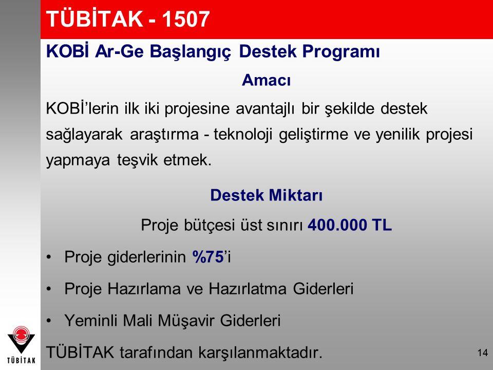 TÜBİTAK - 1507 KOBİ Ar-Ge Başlangıç Destek Programı Amacı KOBİ'lerin ilk iki projesine avantajlı bir şekilde destek sağlayarak araştırma - teknoloji g