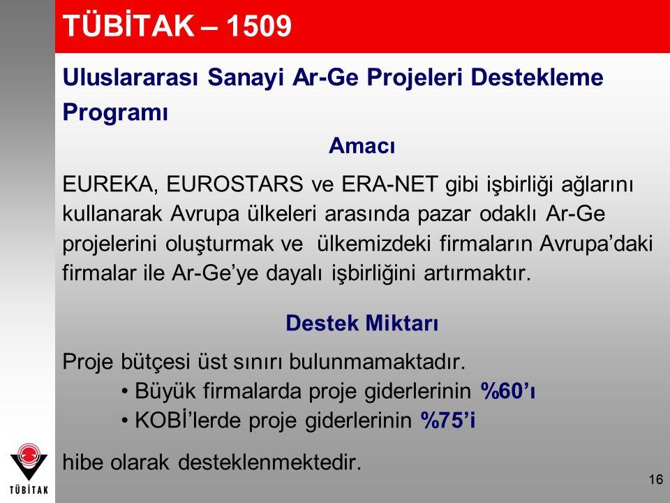 TÜBİTAK – 1509 Uluslararası Sanayi Ar-Ge Projeleri Destekleme Programı Amacı EUREKA, EUROSTARS ve ERA-NET gibi işbirliği ağlarını kullanarak Avrupa ül