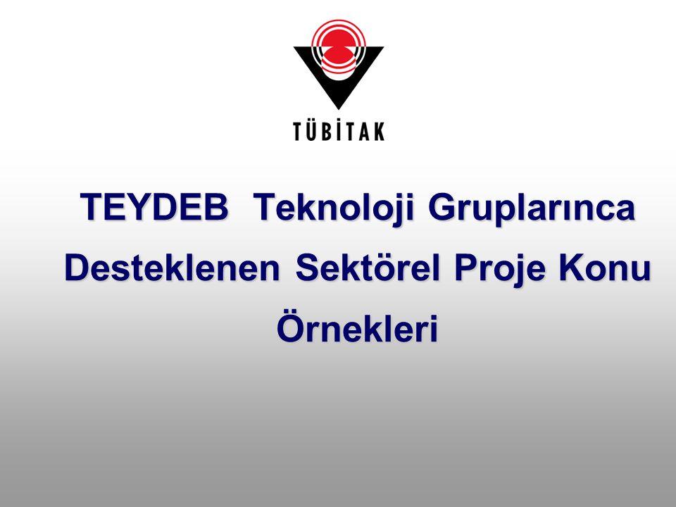 TEYDEB Teknoloji Gruplarınca Desteklenen Sektörel Proje Konu Örnekleri