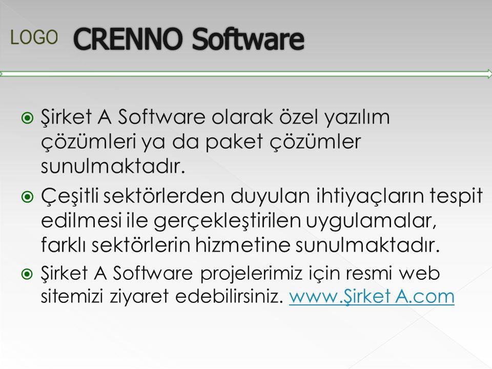  Şirket A Software olarak özel yazılım çözümleri ya da paket çözümler sunulmaktadır.  Çeşitli sektörlerden duyulan ihtiyaçların tespit edilmesi ile