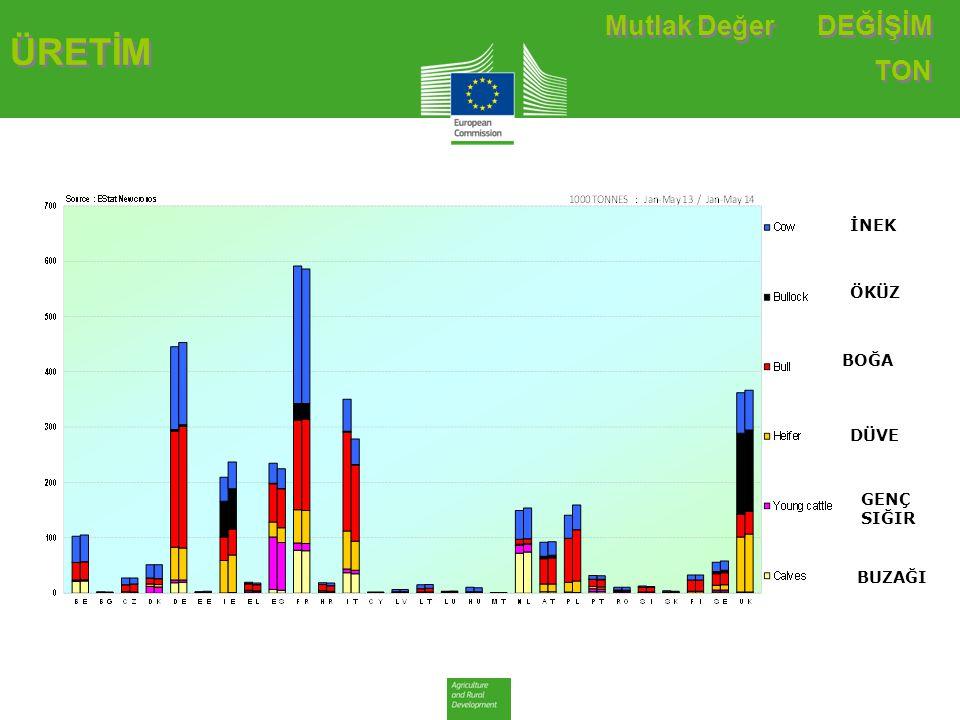 TARİHSEL DEĞİŞİM TON ÜRETİM Sığır & Dana Eti Üretimi (E28 Kesimleri)-Ton