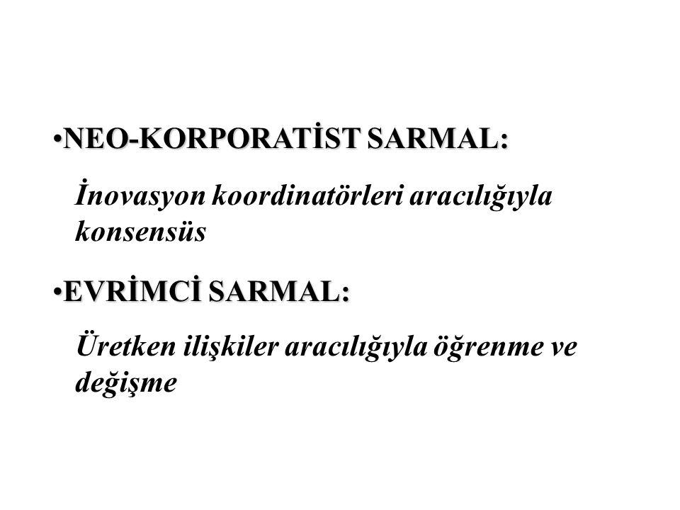 NEO-KORPORATİST SARMAL:NEO-KORPORATİST SARMAL: İnovasyon koordinatörleri aracılığıyla konsensüs EVRİMCİ SARMAL:EVRİMCİ SARMAL: Üretken ilişkiler aracı