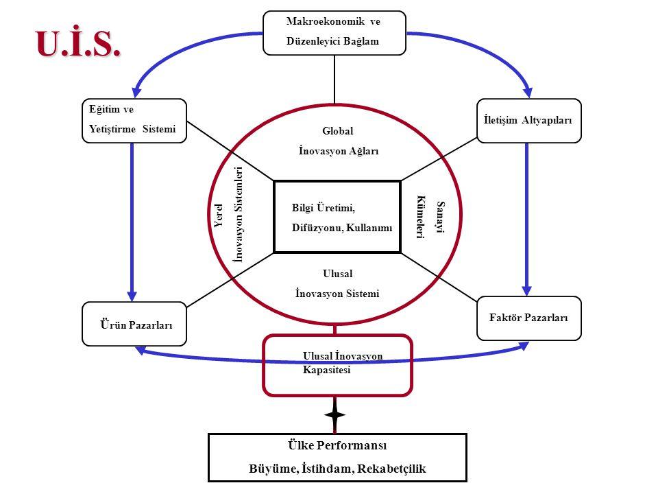 Yerel İnovasyon Sistemleri Global İnovasyon Ağları Sanayi Kümeleri Ulusal İnovasyon Sistemi Bilgi Üretimi, Difüzyonu, Kullanımı Makroekonomik ve Düzen