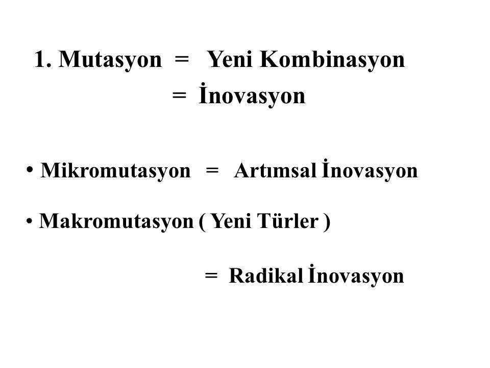 1. Mutasyon = Yeni Kombinasyon = İnovasyon Mikromutasyon = Artımsal İnovasyon Makromutasyon ( Yeni Türler ) = Radikal İnovasyon