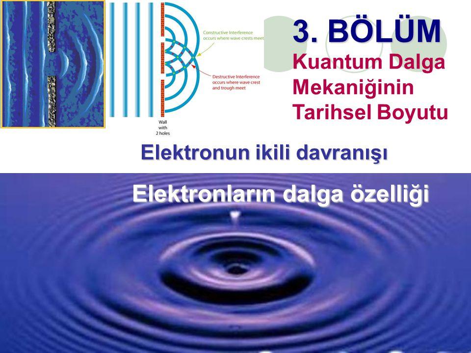 1 Elektronların dalga özelliği 3. BÖLÜM Kuantum Dalga Mekaniğinin Tarihsel Boyutu Elektronun ikili davranışı