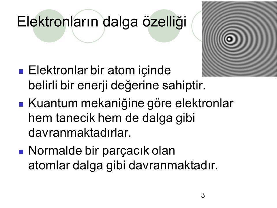 3 Elektronların dalga özelliği Elektronlar bir atom içinde belirli bir enerji değerine sahiptir. Kuantum mekaniğine göre elektronlar hem tanecik hem d