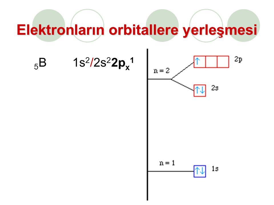 Elektronların orbitallere yerleşmesi 5B5B1s 2 /2s 2 2p x 1