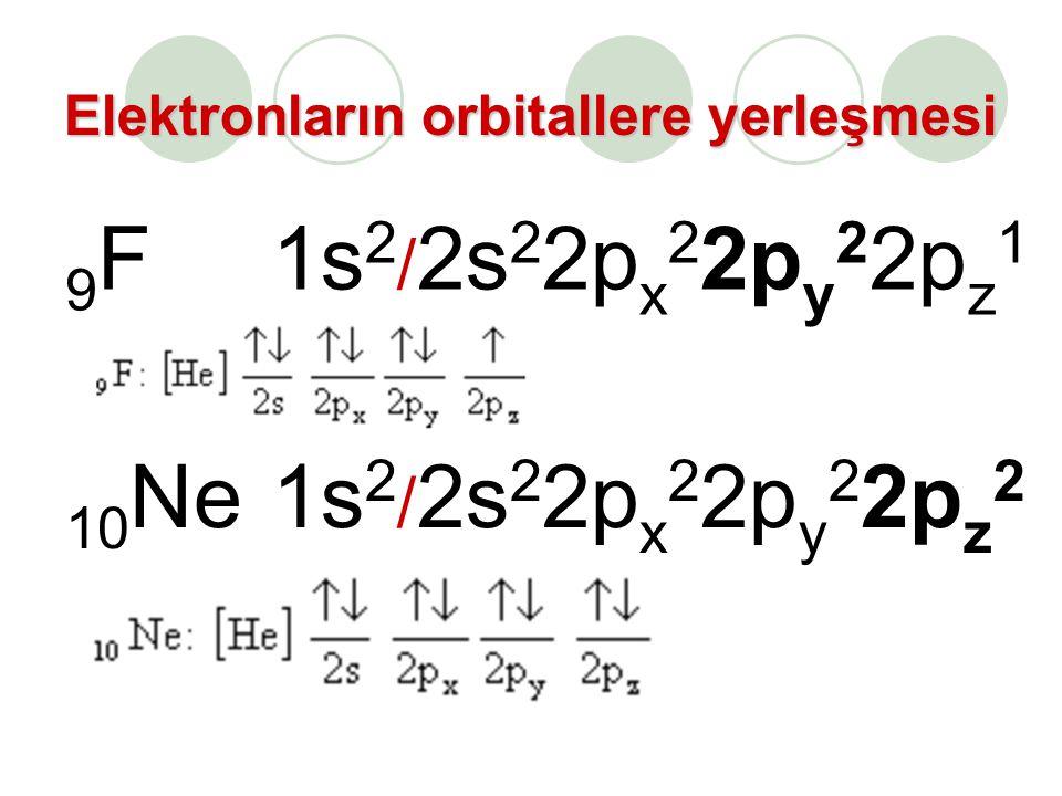 Elektronların orbitallere yerleşmesi 9F9F1s 2 / 2s 2 2p x 2 2p y 2 2p z 1 10 Ne1s 2 / 2s 2 2p x 2 2p y 2 2p z 2