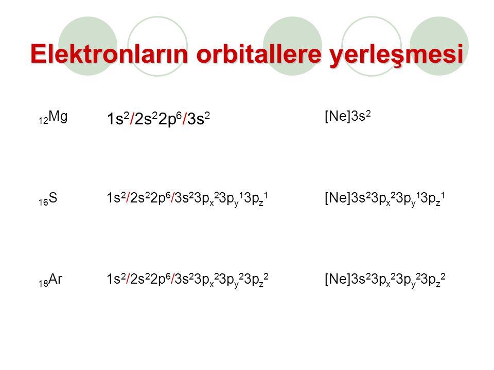 Elektronların orbitallere yerleşmesi 12 Mg 1s 2 /2s 2 2p 6 /3s 2 [Ne]3s 2 16 S1s 2 /2s 2 2p 6 /3s 2 3p x 2 3p y 1 3p z 1 [Ne]3s 2 3p x 2 3p y 1 3p z 1 18 Ar1s 2 /2s 2 2p 6 /3s 2 3p x 2 3p y 2 3p z 2 [Ne]3s 2 3p x 2 3p y 2 3p z 2