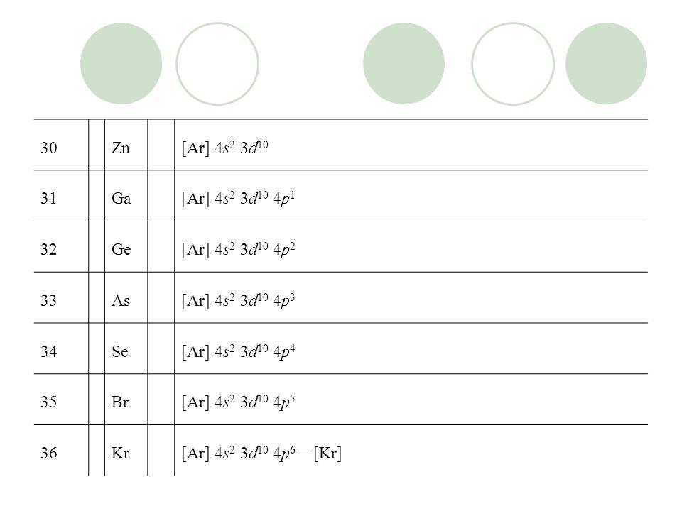 30Zn[Ar] 4s 2 3d 10 31Ga[Ar] 4s 2 3d 10 4p 1 32Ge[Ar] 4s 2 3d 10 4p 2 33As[Ar] 4s 2 3d 10 4p 3 34Se[Ar] 4s 2 3d 10 4p 4 35Br[Ar] 4s 2 3d 10 4p 5 36Kr[Ar] 4s 2 3d 10 4p 6 = [Kr]