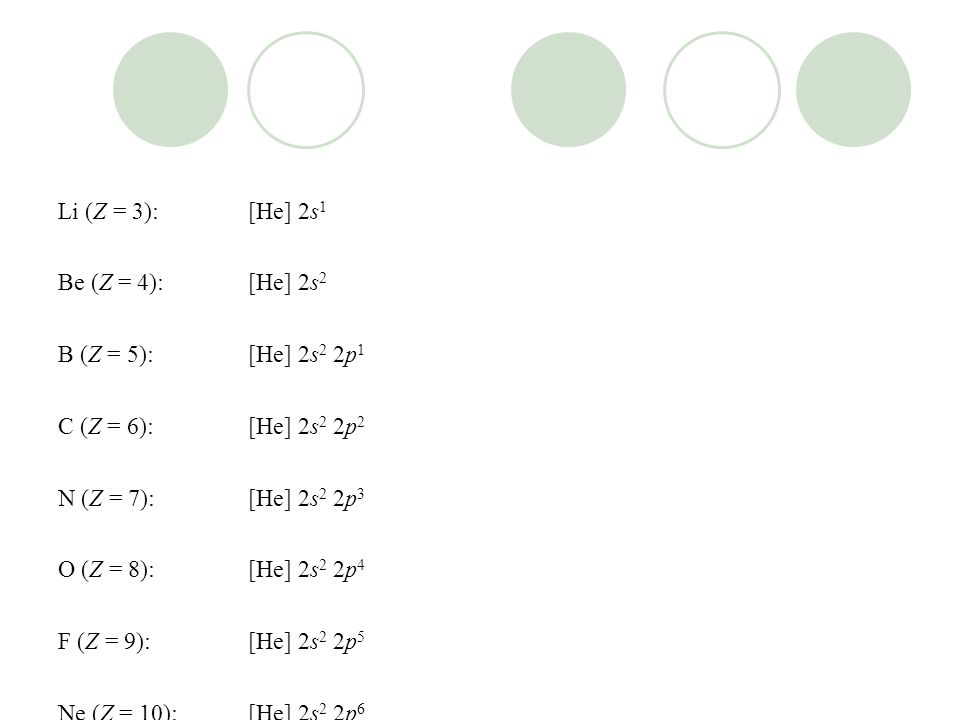 Li (Z = 3):[He] 2s 1 Be (Z = 4):[He] 2s 2 B (Z = 5):[He] 2s 2 2p 1 C (Z = 6):[He] 2s 2 2p 2 N (Z = 7):[He] 2s 2 2p 3 O (Z = 8):[He] 2s 2 2p 4 F (Z = 9