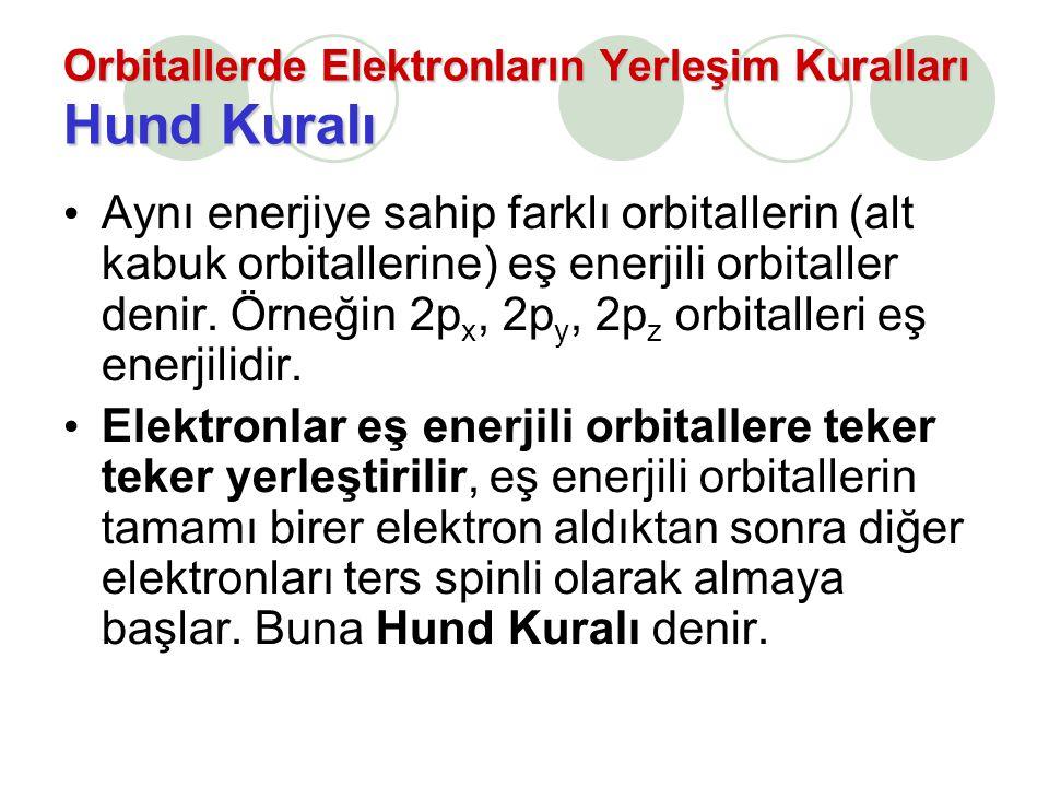 Orbitallerde Elektronların Yerleşim Kuralları Hund Kuralı Aynı enerjiye sahip farklı orbitallerin (alt kabuk orbitallerine) eş enerjili orbitaller den