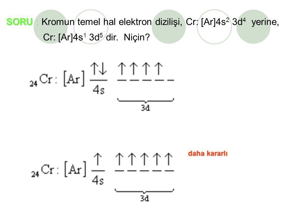SORU SORU : Kromun temel hal elektron dizilişi, Cr: [Ar]4s 2 3d 4 yerine, Cr: [Ar]4s 1 3d 5 dir.
