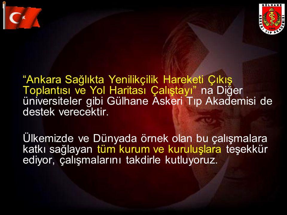"""""""Ankara Sağlıkta Yenilikçilik Hareketi Çıkış Toplantısı ve Yol Haritası Çalıştayı"""" na Diğer üniversiteler gibi Gülhane Askeri Tıp Akademisi de destek"""