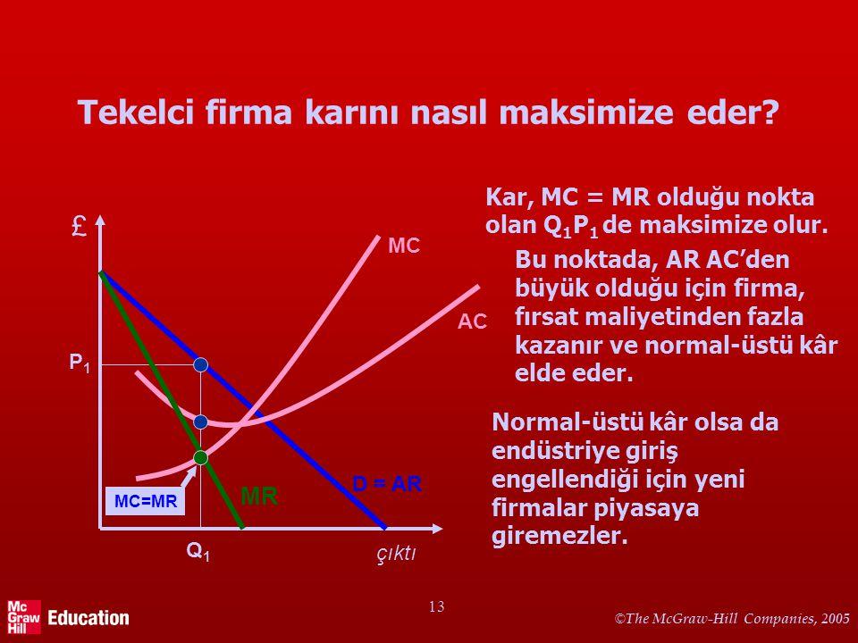 © The McGraw-Hill Companies, 2005 13 Tekelci firma karını nasıl maksimize eder? Kar, MC = MR olduğu nokta olan Q 1 P 1 de maksimize olur. Bu noktada,