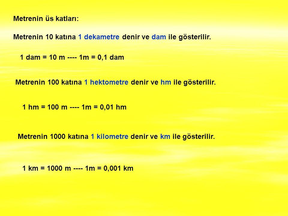 Metrenin üs katları: Metrenin 10 katına 1 dekametre denir ve dam ile gösterilir. Metrenin 100 katına 1 hektometre denir ve hm ile gösterilir. Metrenin