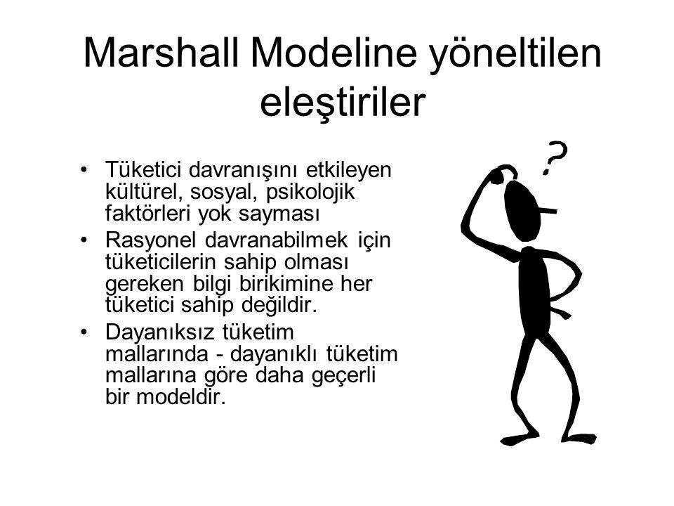 Marshall Modeline yöneltilen eleştiriler Tüketici davranışını etkileyen kültürel, sosyal, psikolojik faktörleri yok sayması Rasyonel davranabilmek içi