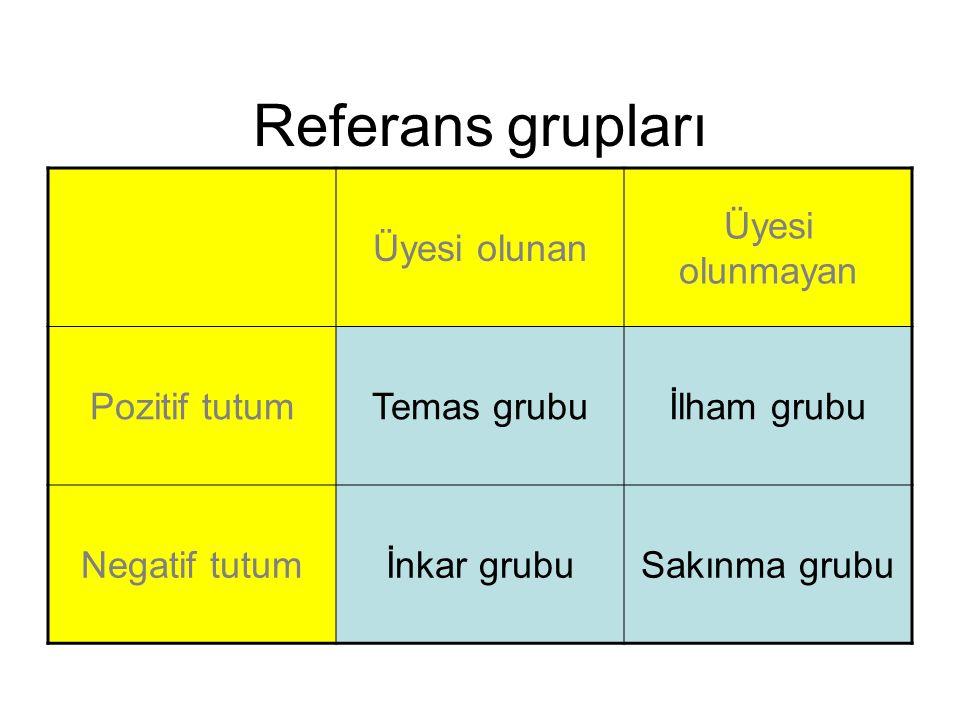Referans grupları Üyesi olunan Üyesi olunmayan Pozitif tutumTemas grubuİlham grubu Negatif tutumİnkar grubuSakınma grubu