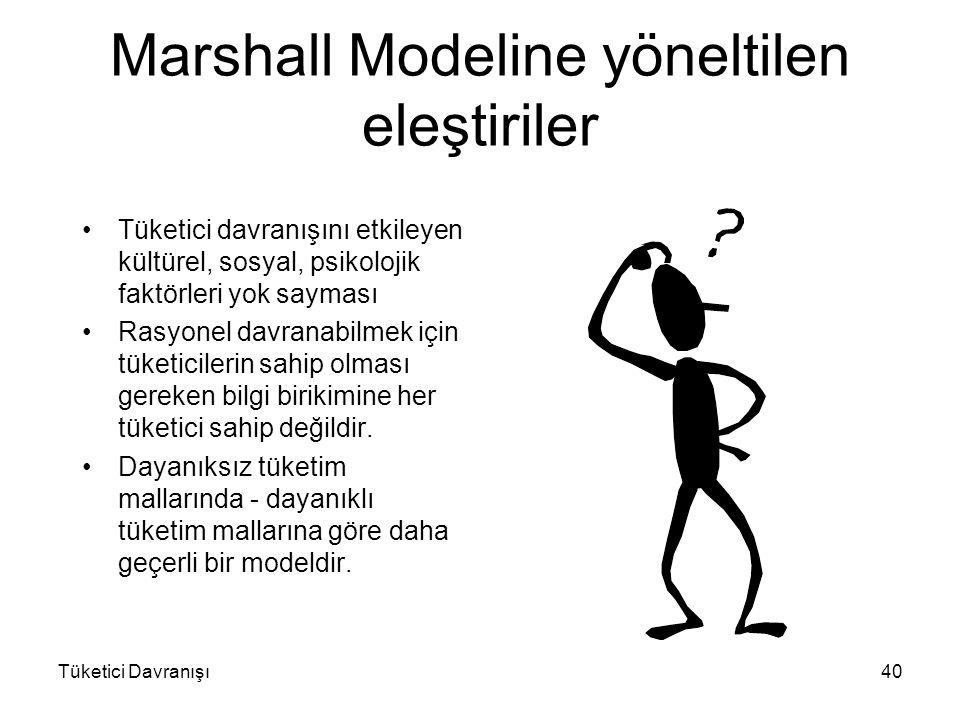Tüketici Davranışı40 Marshall Modeline yöneltilen eleştiriler Tüketici davranışını etkileyen kültürel, sosyal, psikolojik faktörleri yok sayması Rasyo