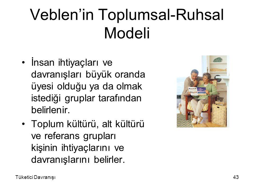 Veblen'in Toplumsal-Ruhsal Modeli İnsan ihtiyaçları ve davranışları büyük oranda üyesi olduğu ya da olmak istediği gruplar tarafından belirlenir. Topl