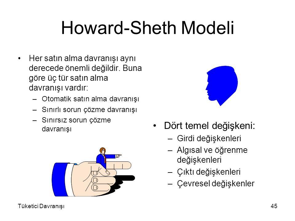 Tüketici Davranışı45 Howard-Sheth Modeli Her satın alma davranışı aynı derecede önemli değildir. Buna göre üç tür satın alma davranışı vardır: –Otomat
