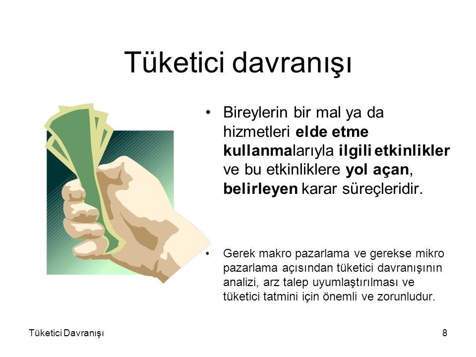 Tüketici Davranışı8 Tüketici davranışı Bireylerin bir mal ya da hizmetleri elde etme kullanmalarıyla ilgili etkinlikler ve bu etkinliklere yol açan, b