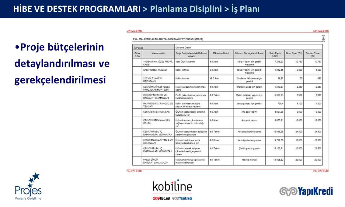 HİBE VE DESTEK PROGRAMLARI > Planlama Disiplini > İş Planı Proje bütçelerinin detaylandırılması ve gerekçelendirilmesi
