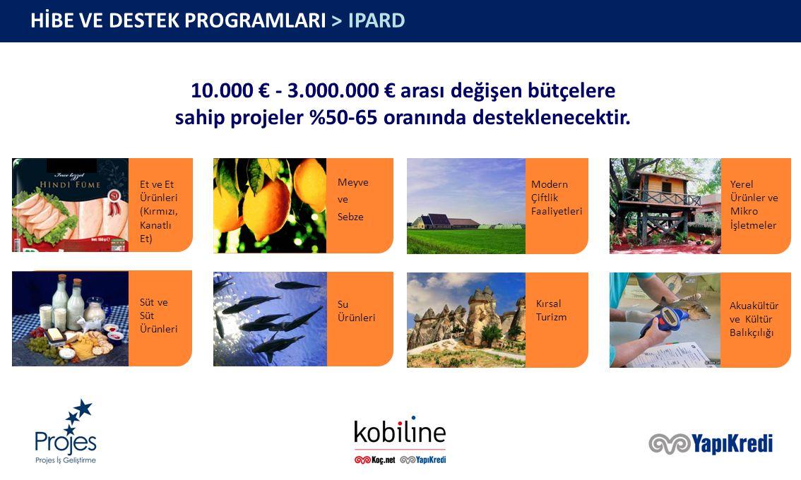 HİBE VE DESTEK PROGRAMLARI > IPARD Et ve Et Ürünleri (Kırmızı, Kanatlı Et) Meyve ve Sebze Modern Çiftlik Faaliyetleri Yerel Ürünler ve Mikro İşletmeler Süt ve Süt Ürünleri Su Ürünleri Kırsal Turizm Akuakültür ve Kültür Balıkçılığı 10.000 € - 3.000.000 € arası değişen bütçelere sahip projeler %50-65 oranında desteklenecektir.