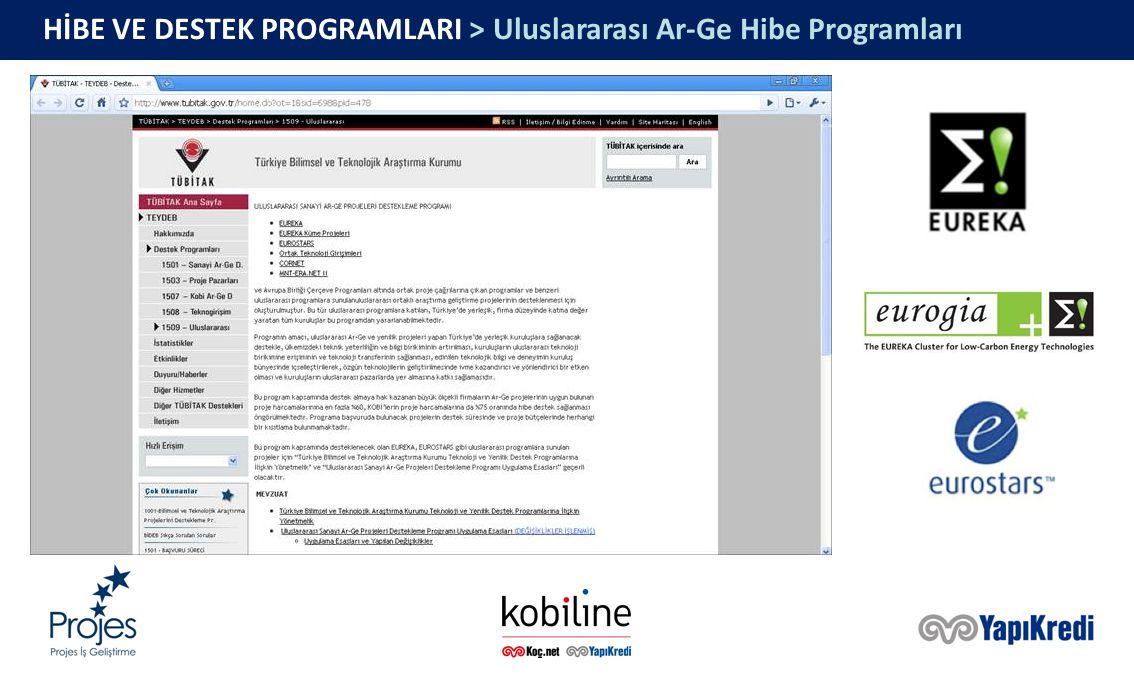 HİBE VE DESTEK PROGRAMLARI > Uluslararası Ar-Ge Hibe Programları