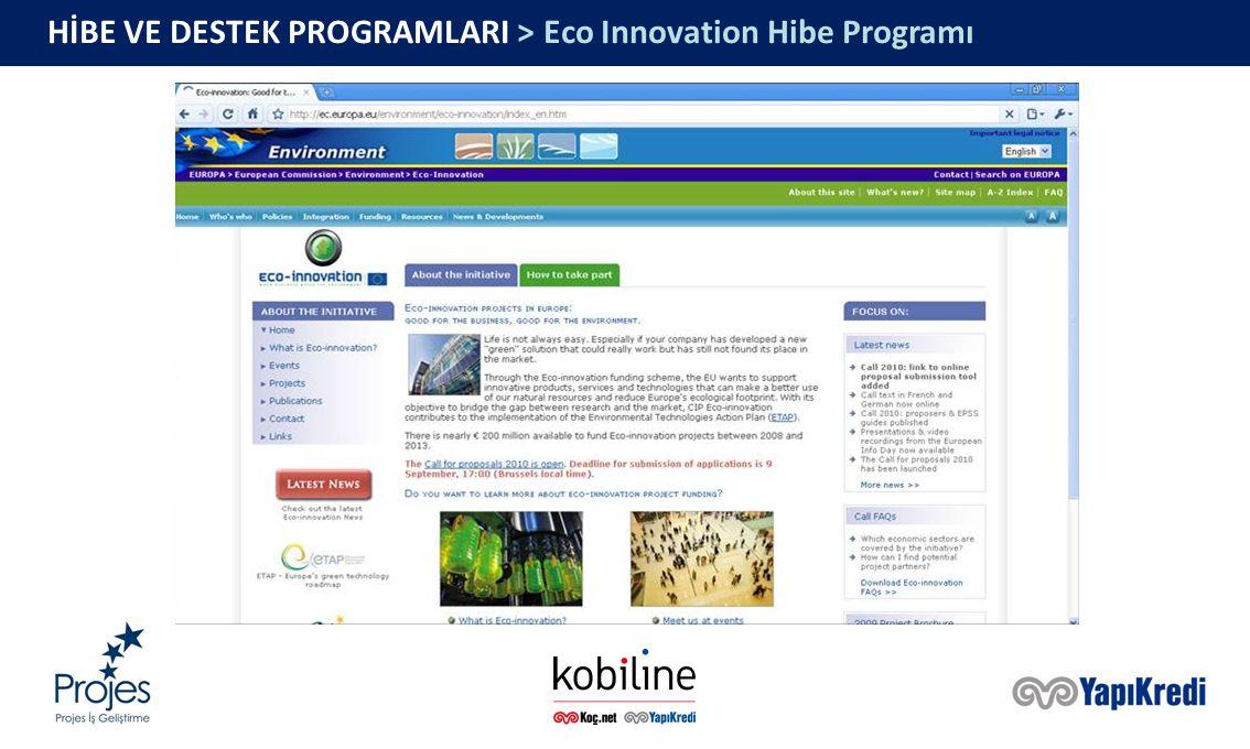 HİBE VE DESTEK PROGRAMLARI > Eco Innovation Hibe Programı