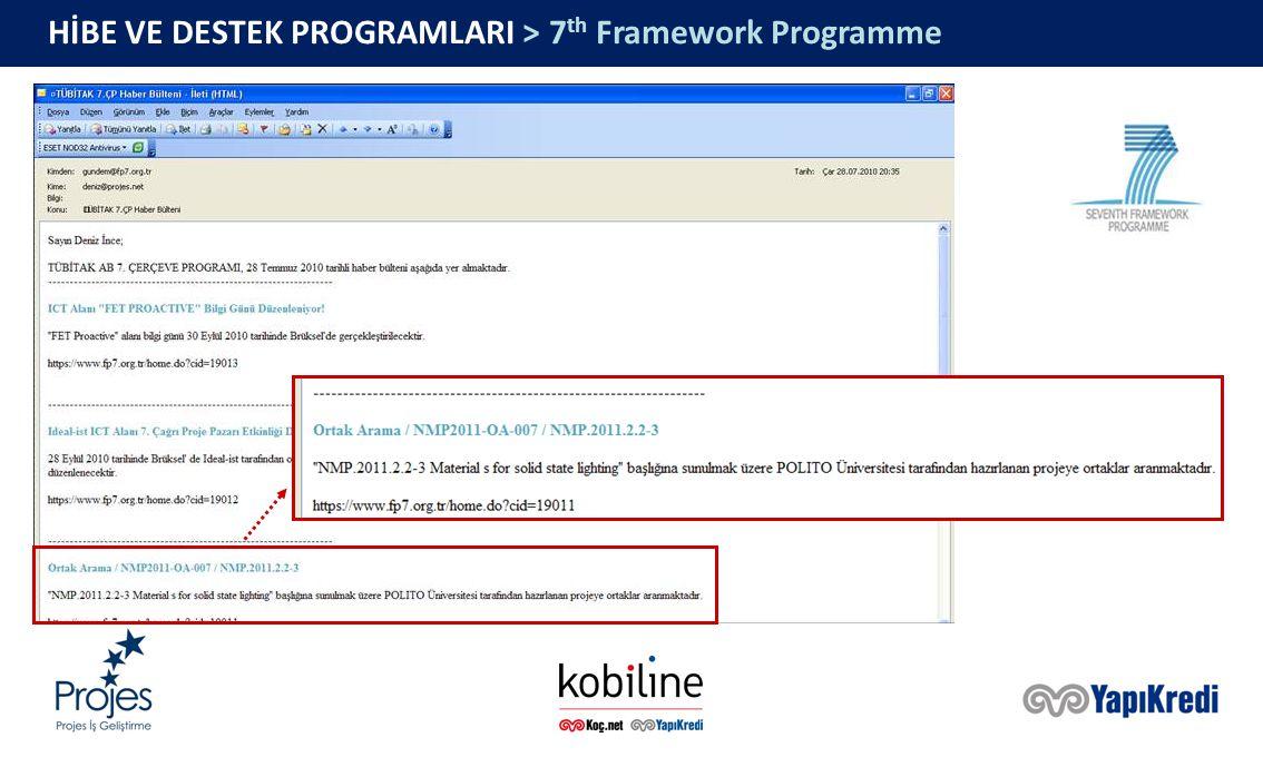 HİBE VE DESTEK PROGRAMLARI > 7 th Framework Programme