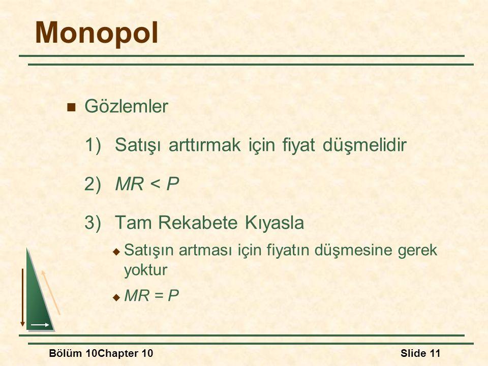 Bölüm 10Chapter 10Slide 11 Monopol Gözlemler 1)Satışı arttırmak için fiyat düşmelidir 2)MR < P 3)Tam Rekabete Kıyasla  Satışın artması için fiyatın d