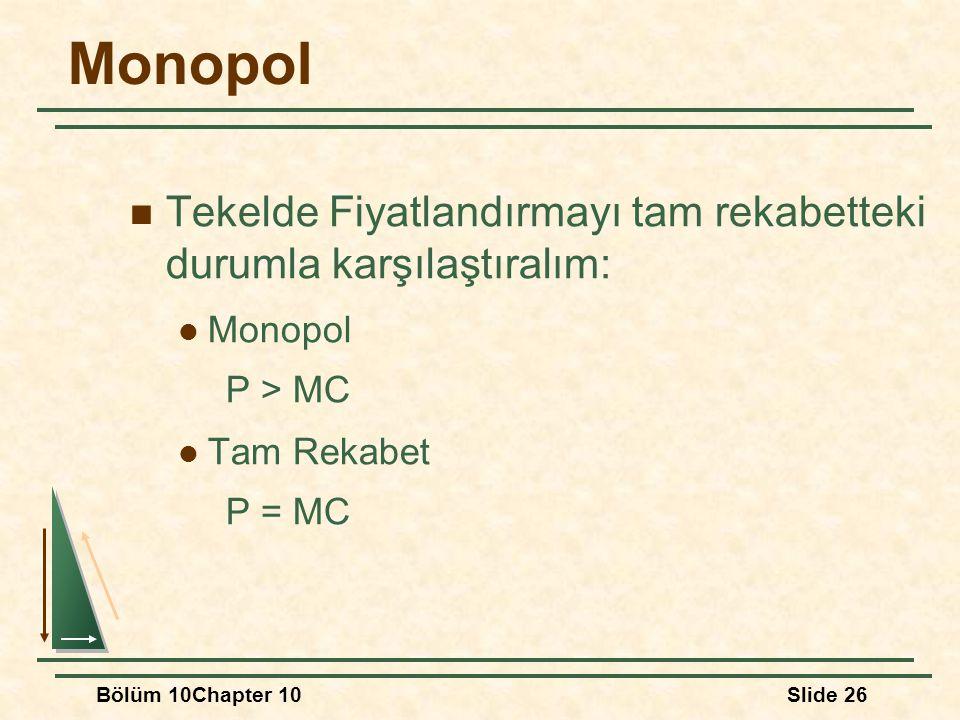 Bölüm 10Chapter 10Slide 26 Monopol Tekelde Fiyatlandırmayı tam rekabetteki durumla karşılaştıralım: Monopol P > MC Tam Rekabet P = MC