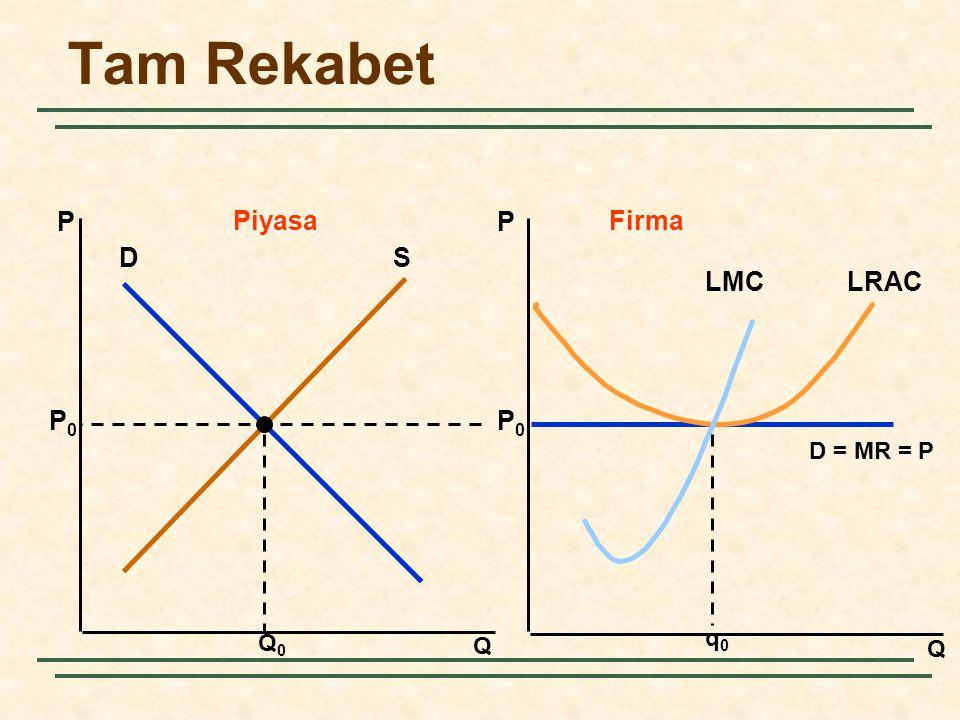 Tam Rekabet Q Q PP PiyasaFirma DS Q0Q0 P0P0 P0P0 D = MR = P q0q0 LRACLMC