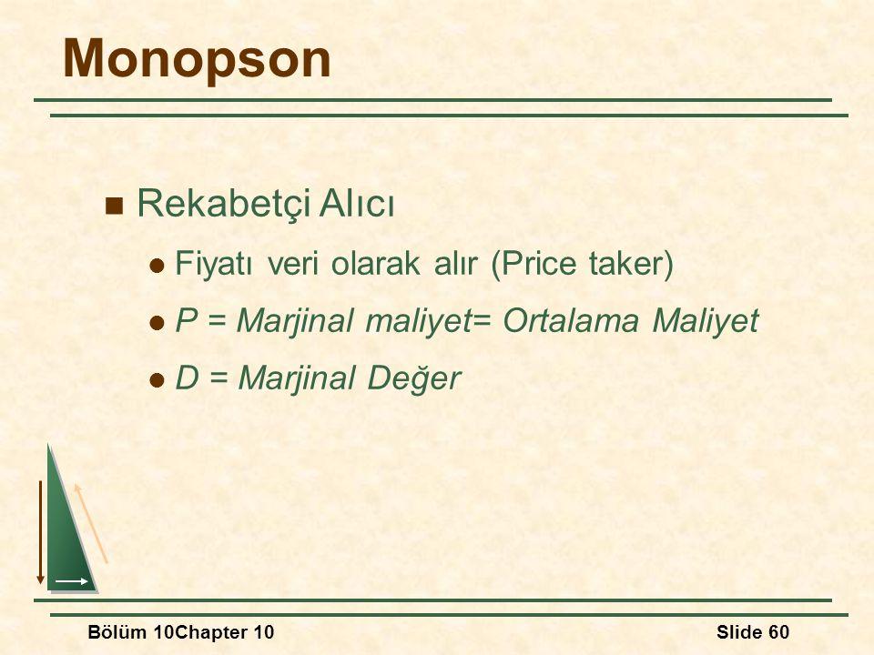 Bölüm 10Chapter 10Slide 60 Monopson Rekabetçi Alıcı Fiyatı veri olarak alır (Price taker) P = Marjinal maliyet= Ortalama Maliyet D = Marjinal Değer