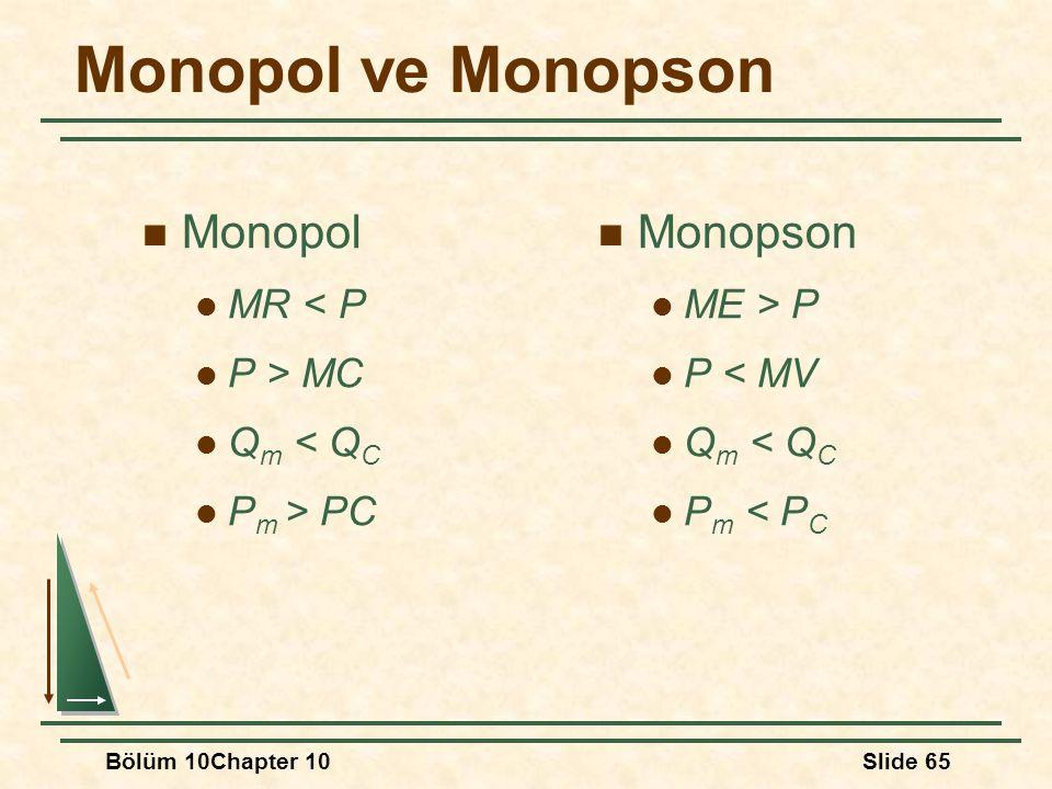 Bölüm 10Chapter 10Slide 65 Monopol ve Monopson Monopol MR < P P > MC Q m < Q C P m > PC Monopson ME > P P < MV Q m < Q C P m < P C