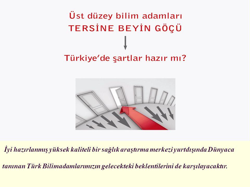 İyi hazırlanmış yüksek kaliteli bir sağlık araştırma merkezi yurtdışında Dünyaca tanınan Türk Bilimadamlarımızın gelecekteki beklentilerini de karşıla