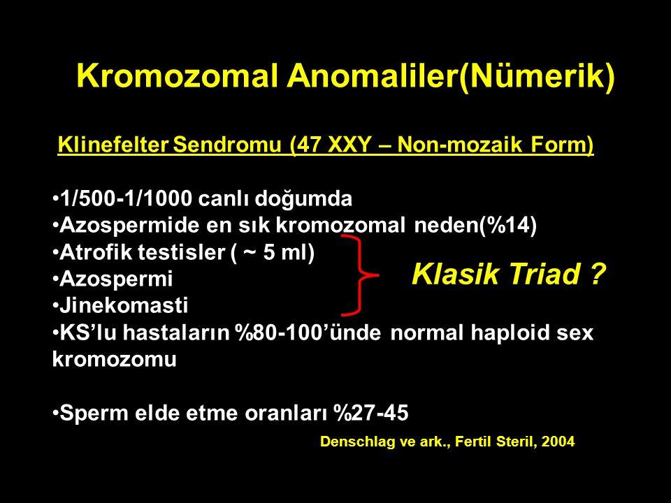 Kromozomal Anomaliler(Nümerik) Klinefelter Sendromu (47 XXY – Non-mozaik Form) 1/500-1/1000 canlı doğumda Azospermide en sık kromozomal neden(%14) Atr