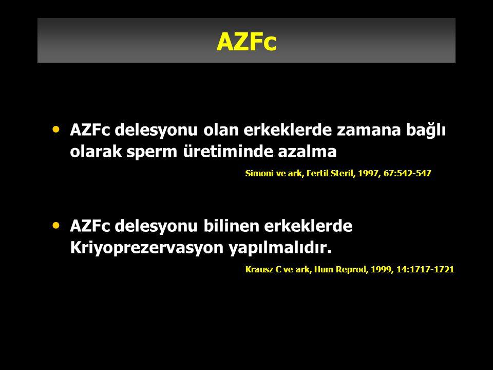 AZFc AZFc delesyonu olan erkeklerde zamana bağlı olarak sperm üretiminde azalma Simoni ve ark, Fertil Steril, 1997, 67:542-547 AZFc delesyonu bilinen
