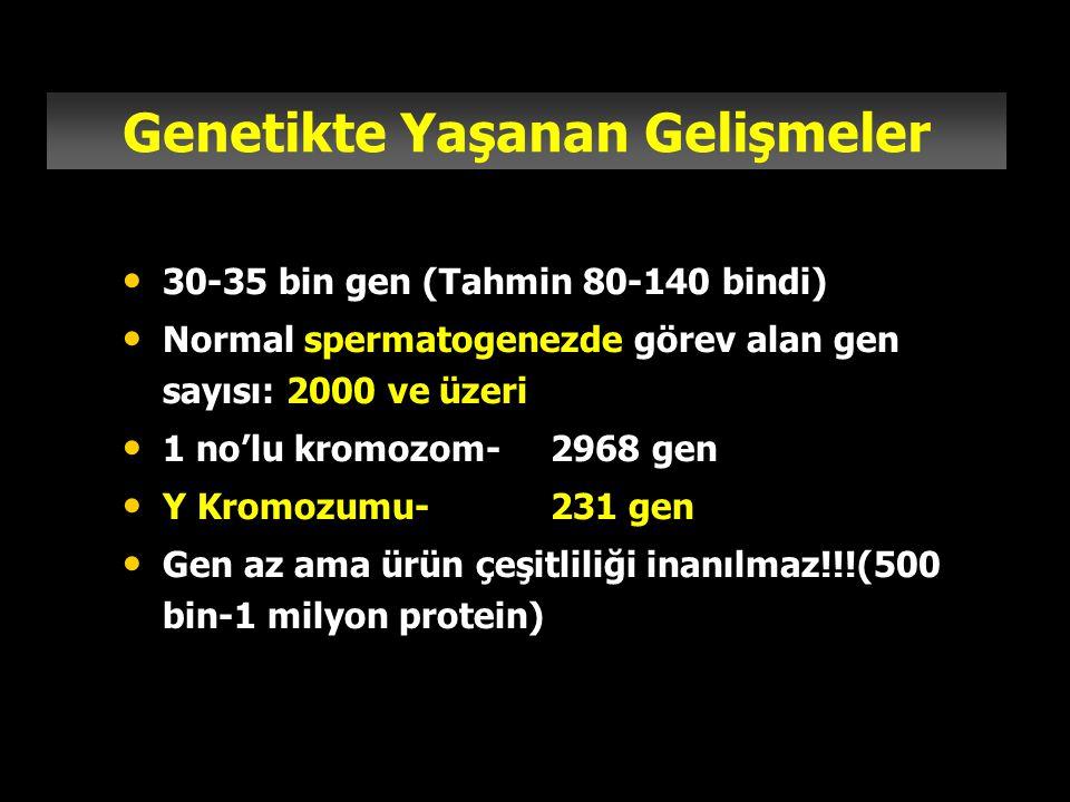30-35 bin gen (Tahmin 80-140 bindi) Normal spermatogenezde görev alan gen sayısı: 2000 ve üzeri 1 no'lu kromozom-2968 gen Y Kromozumu-231 gen Gen az a