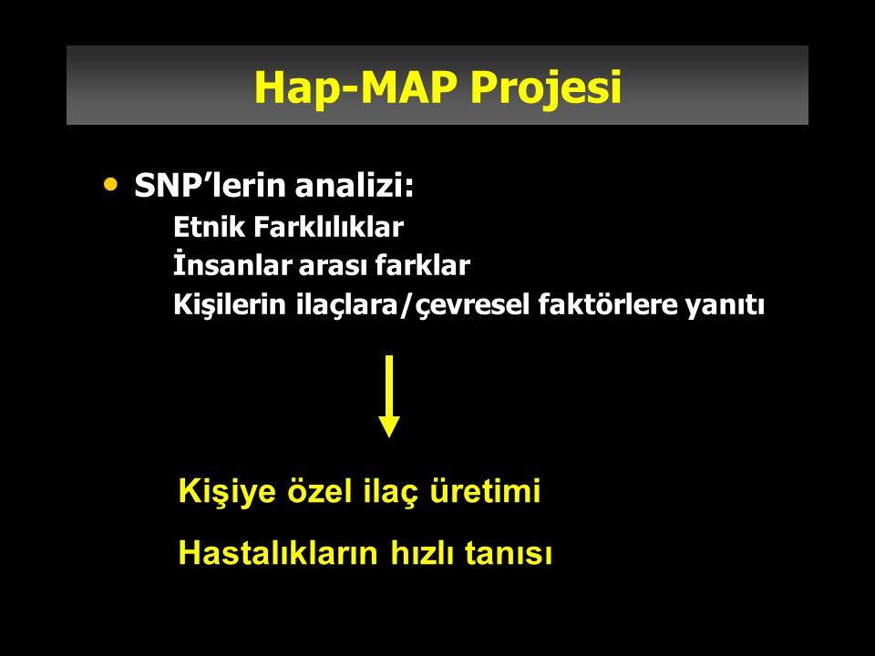 Hap-MAP Projesi SNP'lerin analizi: –Etnik Farklılıklar –İnsanlar arası farklar –Kişilerin ilaçlara/çevresel faktörlere yanıtı Kişiye özel ilaç üretimi