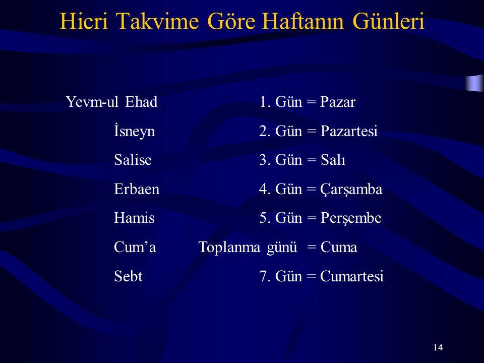 14 Hicri Takvime Göre Haftanın Günleri Yevm-ul Ehad1. Gün = Pazar İsneyn2. Gün= Pazartesi Salise3. Gün= Salı Erbaen4. Gün = Çarşamba Hamis5. Gün= Perş
