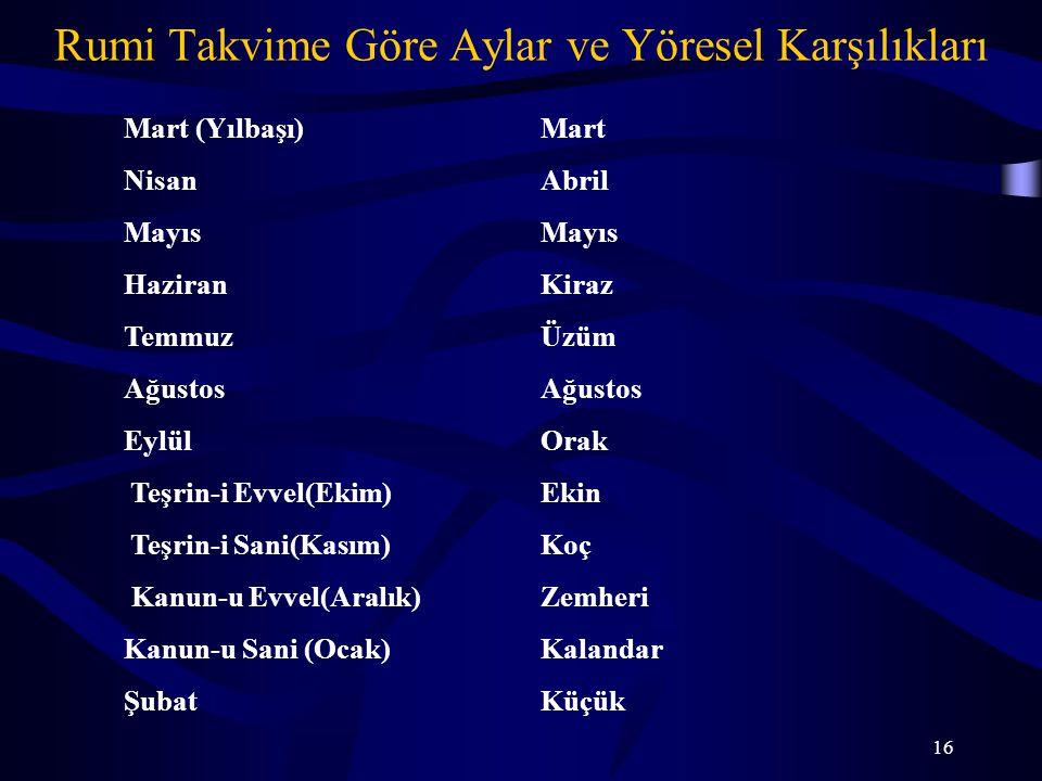 16 Rumi Takvime Göre Aylar ve Yöresel Karşılıkları Mart (Yılbaşı)Mart NisanAbrilMayıs HaziranKiraz TemmuzÜzümAğustos EylülOrak Teşrin-i Evvel(Ekim)Eki