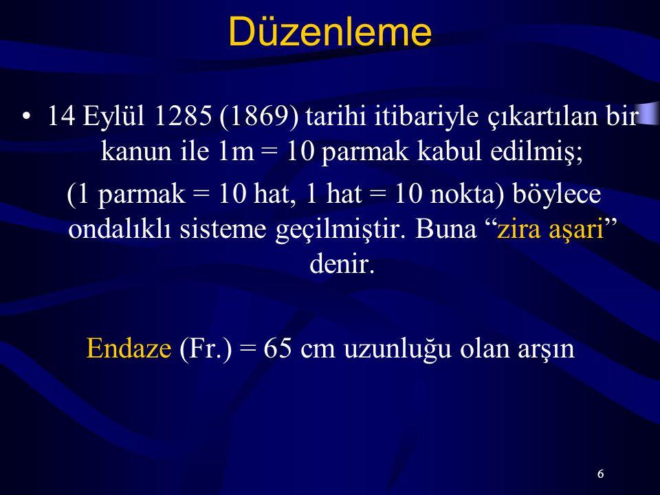 6 Düzenleme 14 Eylül 1285 (1869) tarihi itibariyle çıkartılan bir kanun ile 1m = 10 parmak kabul edilmiş; (1 parmak = 10 hat, 1 hat = 10 nokta) böylec