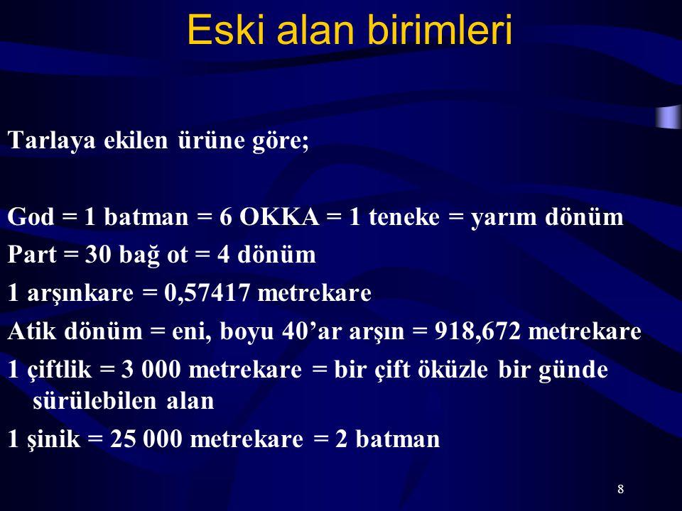 8 Eski alan birimleri Tarlaya ekilen ürüne göre; God = 1 batman = 6 OKKA = 1 teneke = yarım dönüm Part = 30 bağ ot = 4 dönüm 1 arşınkare = 0,57417 met